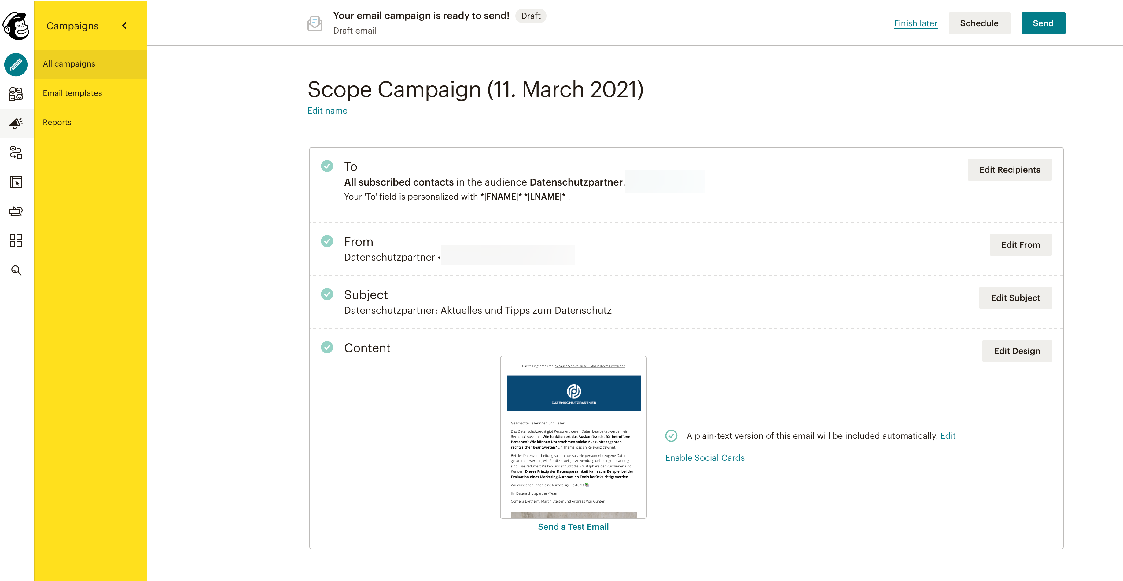 mailchimp datenschutzpartner scope